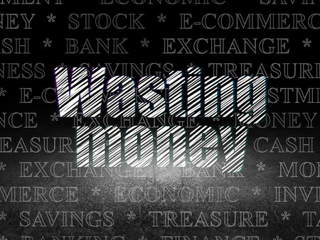 wasting: Currency concept: Glowing text Wasting Money in grunge dark room with Dirty Floor, black background with  Tag Cloud