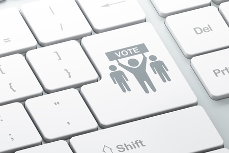 electorate: Politics concept: Enter button with Election Campaign on computer keyboard background, 3D rendering Stock Photo
