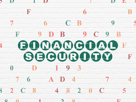 hexadecimal: Protection concept: Painted green text Financial Security on White Brick wall background with Hexadecimal Code