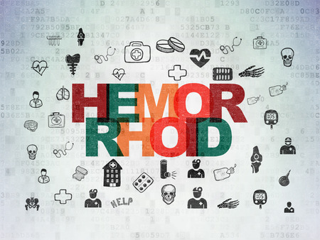 hemorrhoid: Medicine concept: Painted multicolor text Hemorrhoid on Digital Data Paper background with  Hand Drawn Medicine Icons Stock Photo