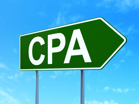 Business concept: CPA on green road highway sign, clear blue sky background, 3D rendering Stock Photo