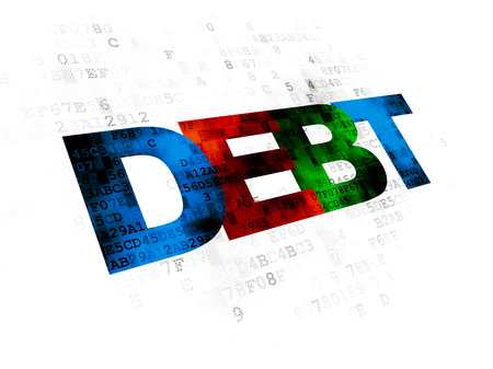 pixelated: Finance concept: Pixelated multicolor text Debt on Digital background Stock Photo