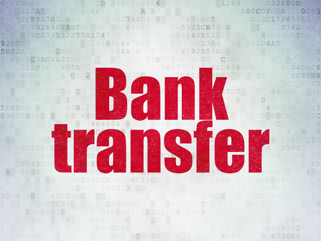 bank transfer: Money concept: Painted red word Bank Transfer on Digital Data Paper background