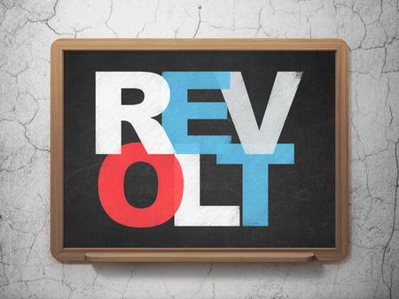 revolt: Politics concept: Painted multicolor text Revolt on School board background, 3D Rendering
