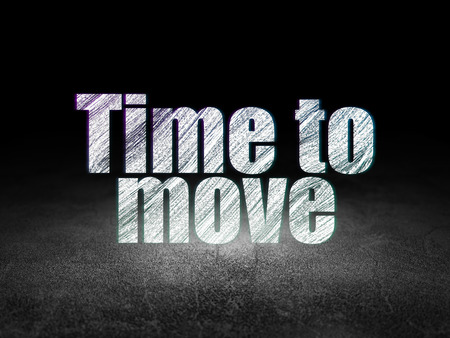 move in: Time concept: Glowing text Time to Move in grunge dark room with Dirty Floor, black background Stock Photo