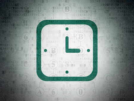 hexadecimal: Timeline concept: Painted green Watch icon on Digital Data Paper background with Scheme Of Hexadecimal Code