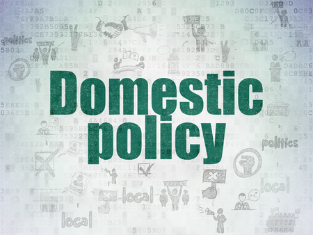 domestic policy: Politics concept: Painted green text Domestic Policy on Digital Data Paper background with  Scheme Of Hand Drawn Politics Icons Stock Photo