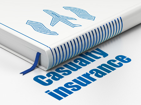 casualty: Insurance concept: closed book with Blue Airplane And Palm icon and text Casualty Insurance on floor, white background, 3D rendering Stock Photo