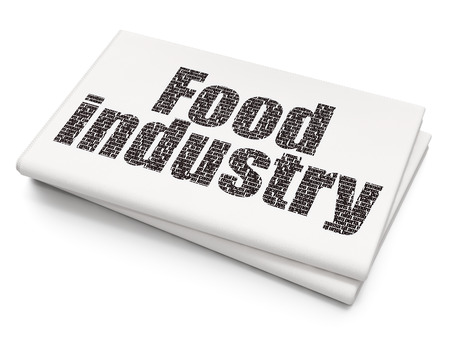 food industry: Manufacuring concept: Pixelated black text Food Industry on Blank Newspaper background, 3D rendering
