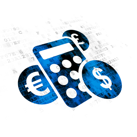 pixelated: News concept: Pixelated blue Calculator icon on Digital background Stock Photo