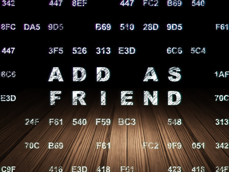 add as friend: Social media concept: Glowing text Add as Friend in grunge dark room with Wooden Floor, black background with Hexadecimal Code Stock Photo
