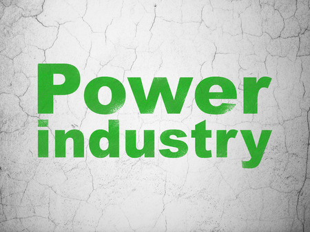green power: Industry concept: Green Power Industry on textured concrete wall background
