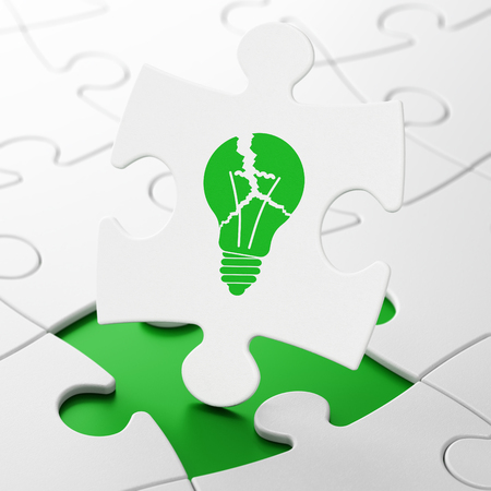 broken strategy: Business concept: Light Bulb on White puzzle pieces background, 3D rendering Stock Photo