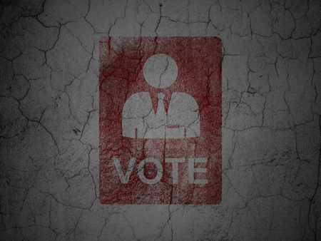 dictatorship: Politics concept: Red Ballot on grunge textured concrete wall background
