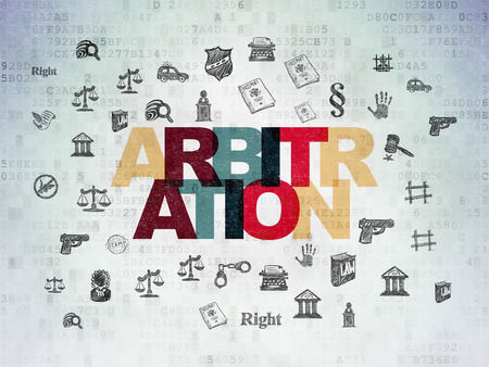 arbitration: Law concept: Painted multicolor text Arbitration on Digital Data Paper background with  Hand Drawn Law Icons