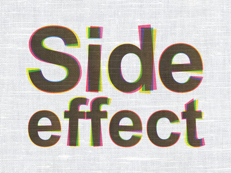 side effect: Health concept: CMYK Side Effect on linen fabric texture background
