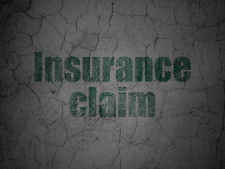 insurance claim: Insurance concept: Green Insurance Claim on grunge textured concrete wall background