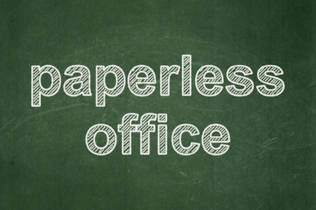 paperless: Finance concept: text Paperless Office on Green chalkboard background Stock Photo