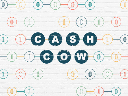 cash cow: Finance concept: Painted blue text Cash Cow on White Brick wall background with Binary Code