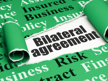 bilateral: Insurance concept: black text Bilateral Agreement under the curled piece of Green torn paper with  Tag Cloud, 3D rendering