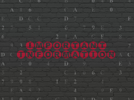 important information: Data concept: Painted red text Important Information on Black Brick wall background with Hexadecimal Code