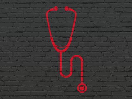 red stethoscope: Healthcare concept: Painted red Stethoscope icon on Black Brick wall background Stock Photo