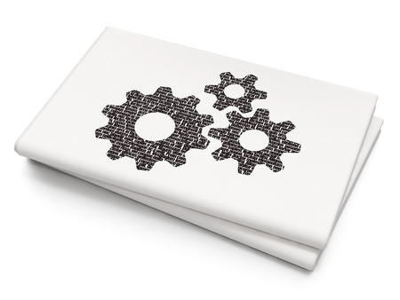 blank newspaper: Data concept: Pixelated black Gears icon on Blank Newspaper background, 3D rendering Stock Photo
