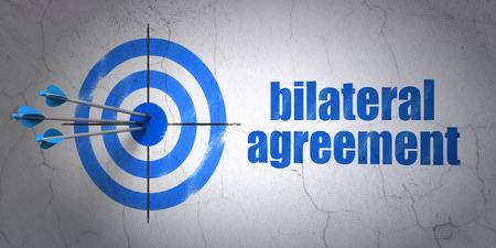 bilateral: Success Insurance concept: arrows hitting the center of target, Blue Bilateral Agreement on wall background, 3D rendering