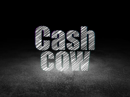 cash cow: Business concept: Glowing text Cash Cow in grunge dark room with Dirty Floor, black background Stock Photo
