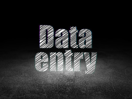 data entry: Information concept: Glowing text Data Entry in grunge dark room with Dirty Floor, black background Stock Photo
