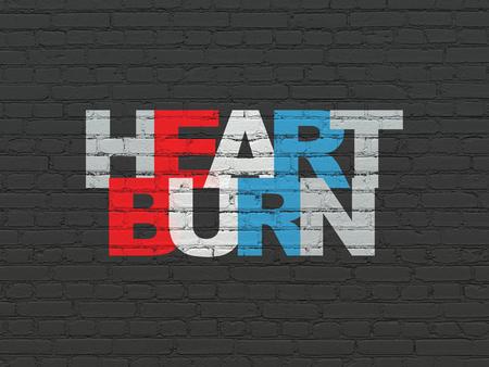 heartburn: Health concept: Painted multicolor text Heartburn on Black Brick wall background