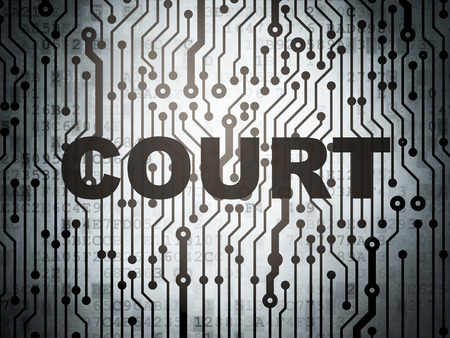 data protection act: Law concept: circuit board with  word Court, 3D rendering