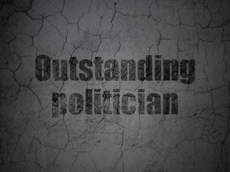 dictatorship: Political concept: Black Outstanding Politician on grunge textured concrete wall background