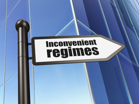 regimes: Politics concept: sign Inconvenient Regimes on Building background, 3D rendering