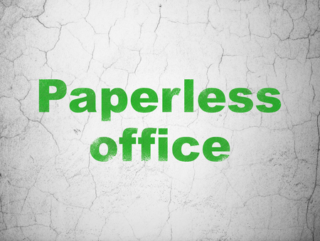 paperless: Business concept: Green Paperless Office on textured concrete wall background