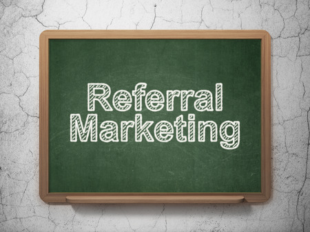 referral marketing: Marketing concept: text Referral Marketing on Green chalkboard on grunge wall background, 3D rendering Stock Photo
