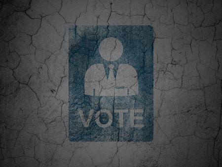 politics: Politics concept: Blue Ballot on grunge textured concrete wall background