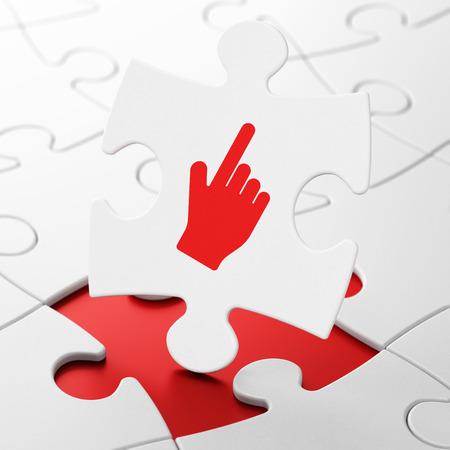3d cursor: Social media concept: Mouse Cursor on White puzzle pieces background, 3D rendering