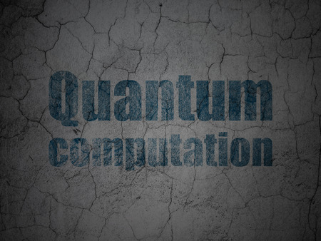 quantum: Science concept: Blue Quantum Computation on grunge textured concrete wall background Stock Photo