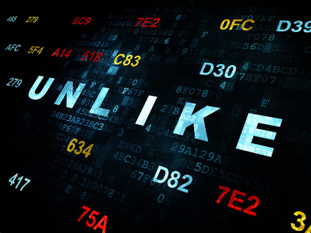 unlike: Social network concept: Pixelated blue text Unlike on Digital wall background with Hexadecimal Code Stock Photo