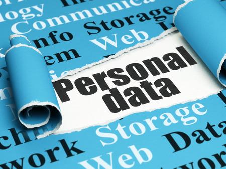 datos personales: Concepto de la informaci�n: texto negro de Datos Personales debajo de la pieza rizado de papel rasgado azul con la nube de etiquetas, 3D