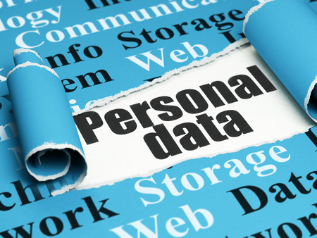 personal data: Information concept: black text Personal Data under the curled piece of Blue torn paper with  Tag Cloud, 3D rendering Stock Photo