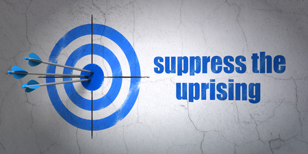 suppress: Success politics concept: arrows hitting the center of target, Blue Suppress The Uprising on wall background, 3D rendering