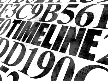 hexadecimal: Timeline concept: Pixelated black text Timeline on Digital wall background with Hexadecimal Code Stock Photo