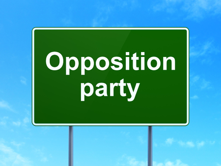 opposition: Politics concept: Opposition Party on green road highway sign, clear blue sky background, 3D rendering Stock Photo