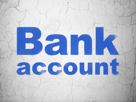 banking concept: Banking concept: Blue Bank Account on textured concrete wall background