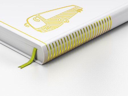 closed book: Tourism concept: closed book with Gold Bus icon on floor, white background, 3D rendering