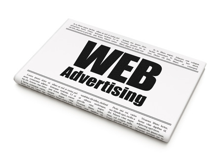newspaper headline: Marketing concept: newspaper headline WEB Advertising on White background, 3D rendering