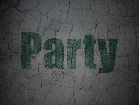 holiday party: Holiday concept: Green Party on grunge textured concrete wall background Stock Photo