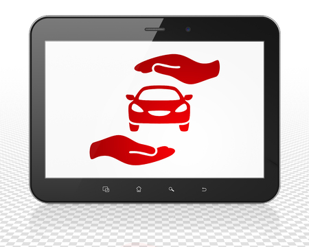 palm computer: Insurance concept: Tablet Pc Computer with red Car And Palm icon on display, 3D rendering
